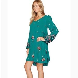 FREE PEOPLE DRESS OXFORD EMBROIDERED MINI
